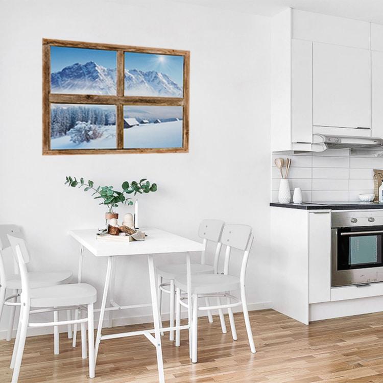 Sticker fausse fenêtre trompe l'oeil vue sur Montagne pour déco de cuisine ou de salle à manger.