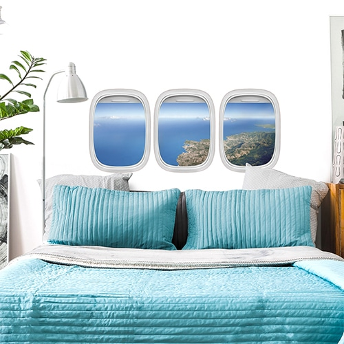 Sticker Vue du Ciel pour tête de lit au-dessus d'un lit bleu