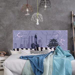 Sticker tête de lit chine ville de shangai mise en ambiance sur mur gris