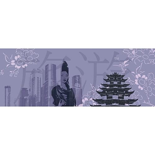 Sticker tête de lit chine ville de shangai mise en ambiance sur mur peinture claire