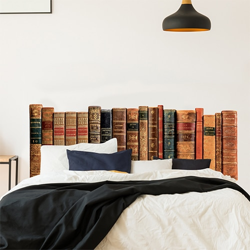 stickers autocollants mural t te de lit biblioth que pour chambre. Black Bedroom Furniture Sets. Home Design Ideas