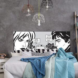 Sticker conversation personnages BD en noir gris foncé