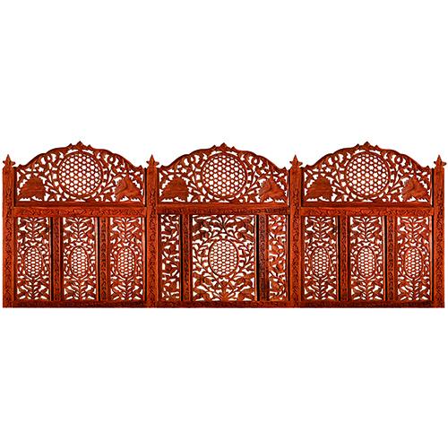 Sticker Moucharabieh oriental pour tête de lit mis en ambiance dans une chambre à coucher
