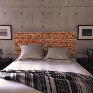 Sticker pour tête de lit Briques Rouges mis en ambiance dans une chambre à coucher
