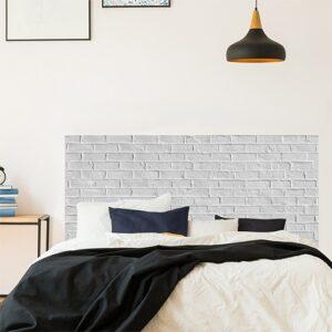 Sticker pour tête de lit Briques Blanches mis en ambiance sur un mur clair