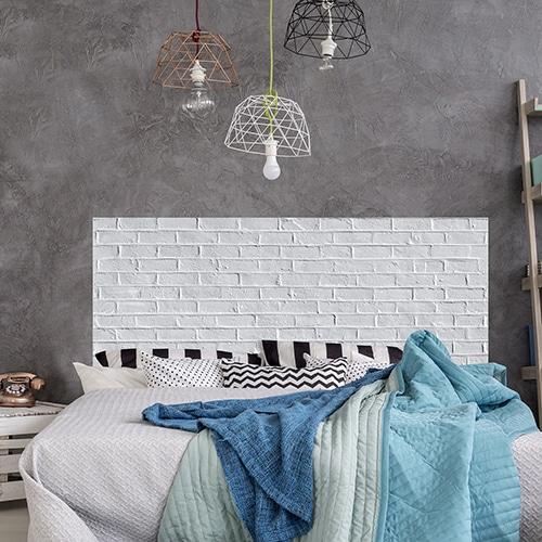 Adhésif pour tête de lit mur Briques Blanches dans une chambre