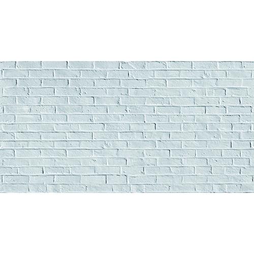 Sticker pour tête de lit Briques Blanches sur mur gris au-dessus d'un lit