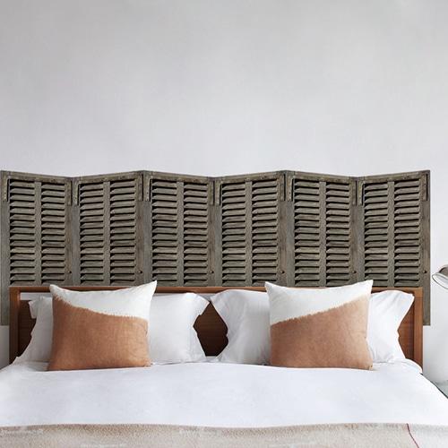 Sticker Persiennes en bois vert pour tête de lit