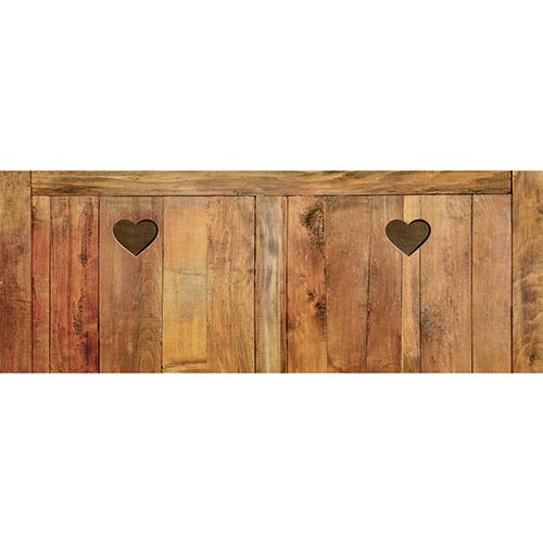 Sticker Persiennes en bois pour tête de lit dans une chambre à coucher aux murs gris