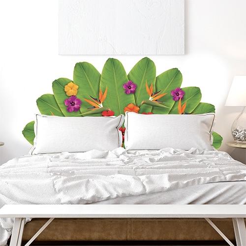 Sticker Tête de lit en forme de fleurs de tahiti