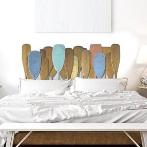 sticker tête de lit motifs rames de bateau sur fond blanc