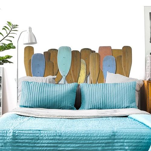 sticker tête de lit motifs rames de bateau dans chambre à coucher murs blancs