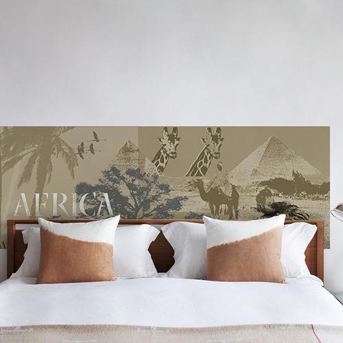 sticker tête de lit safari avec animaux et paysages africains