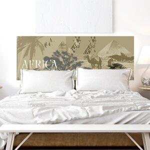 sticker tête de lit safari avec animaux et paysages africains sur mur blanc