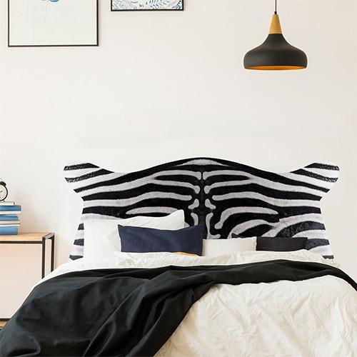stickers tête de lit motif peau de zèbre