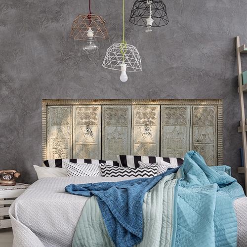 Sticker tête de lit motifs dessins de Papouasie sur mur gris foncé