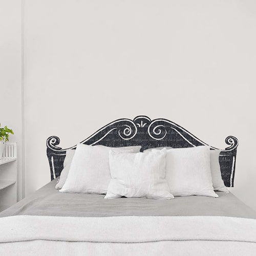 Sticker pour tête de lit Classique Noir et Blanc avec écritures floues