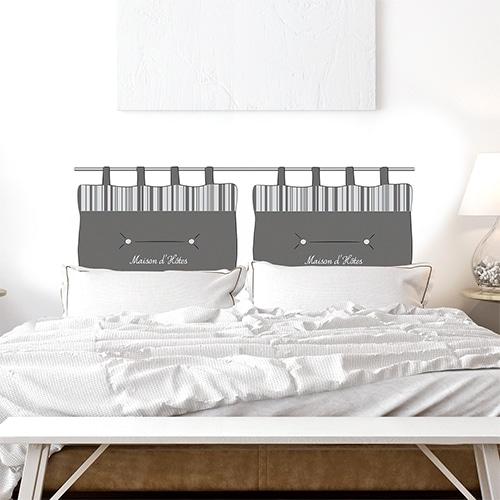 Sticker pour tête de lit gris avec écritures