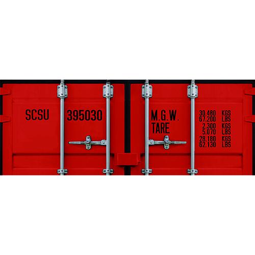 Sticker pour tête de lit Portes Container Rouge mis en ambiance sur un mur clair