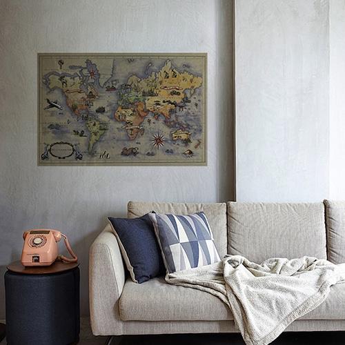 Sticker autocollant Carte du Monde mis dans un salon