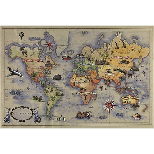 Sticker tête de lit avec la carte du monde