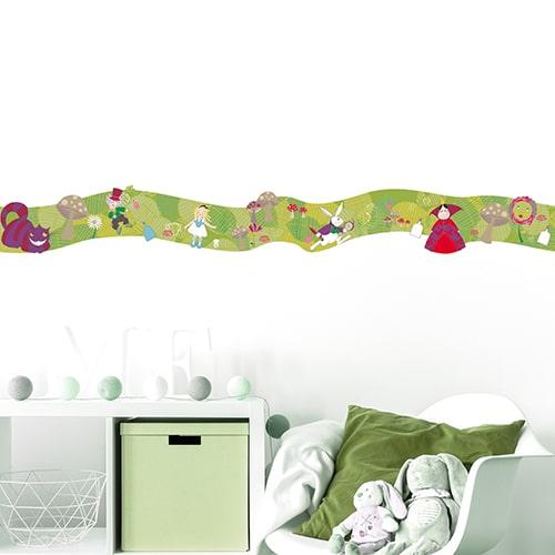 Frise Alice au Pays des Merveilles sur mur blanc pour enfant