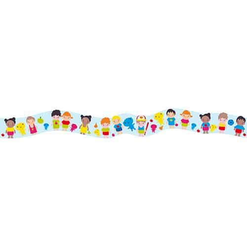 Autocollant frise enfants du monde de couleurs