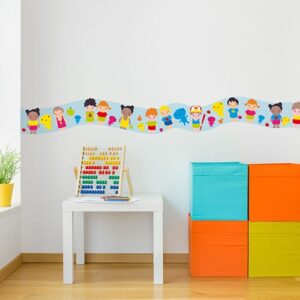 Sticker frise enfants du monde dans chambre d'enfant avec boulier et cubes colorés