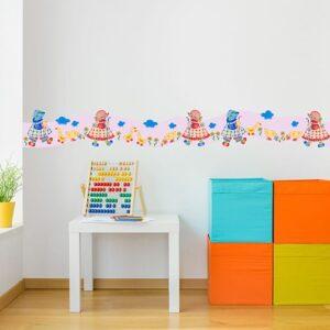 Sticker Frise rose Petite Jardinière rouge et bleue dans chambre d'enfant avec boulier