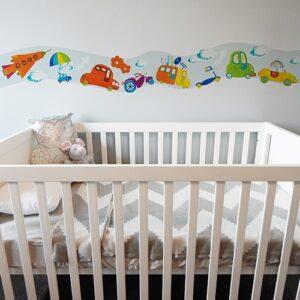 Sticker Frise Voitures & Co lit bébé blanc et gris