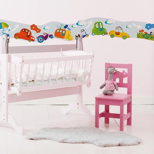 Sticker Frise Voitures & Co avec lit et chaise roses