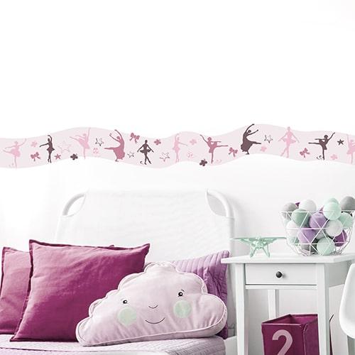 Sticker Frise Danseuses pour chambre d'enfant avec coussins roses