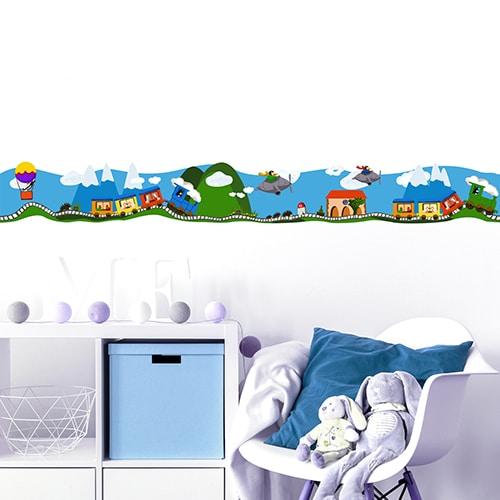 Sticker Frise Train en Voyage pour chambre d'enfant