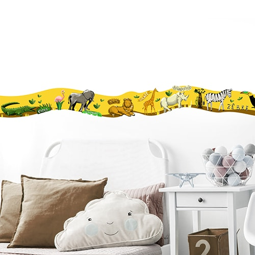 Frise Animaux de la Savane crocodile flamant rose lion girafe rhino zebre toucan pour chambre d'enfant