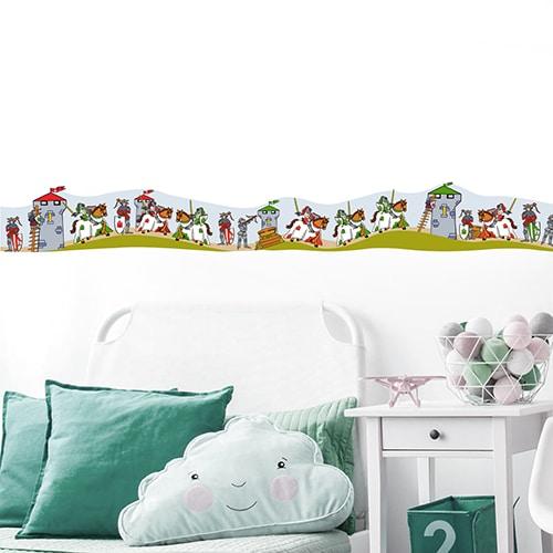 Sticker Frise Chevaliers à l'assaut pour chambre d'enfant