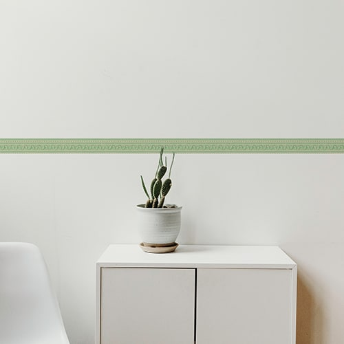 Sticker frise design vert avec cactus décoratif