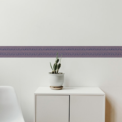 Sticker frise design bleu et rose avec cactus décoratif