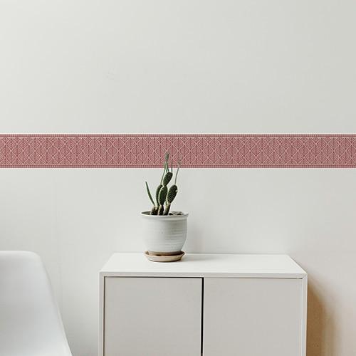 Sticker frise feuille rouge et blanc avec cactus décoratif