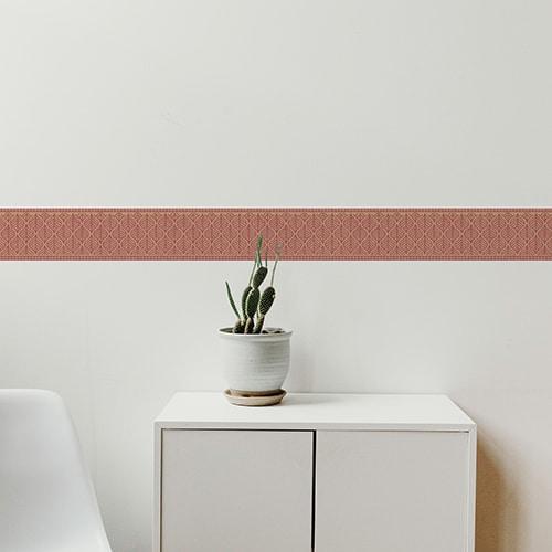 Sticker frise feuille rouge et jaune avec cactus décoratif
