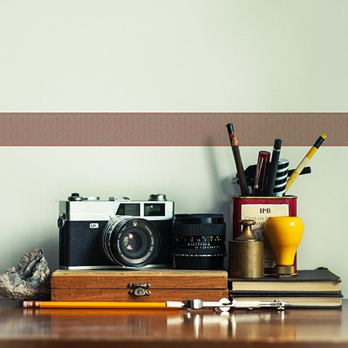 Sticker frise feuille rouge et bleue déco photographe