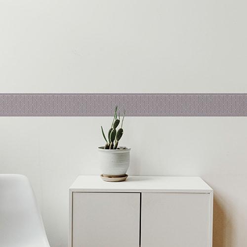 Sticker frise feuille bleue et rose avec cactus décoratif