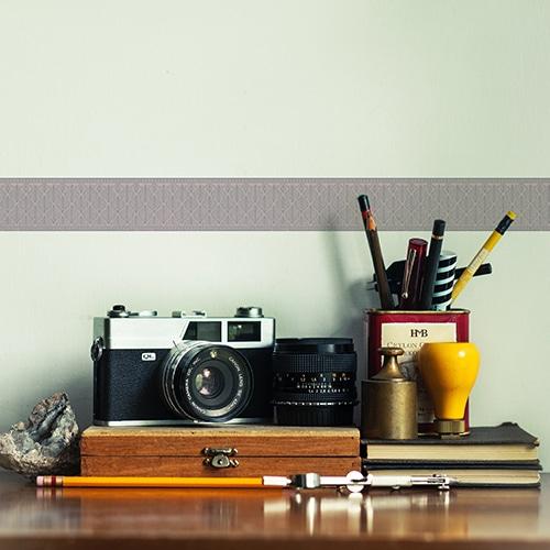 Sticker frise feuille bleue et rose sur mur clair déco photographe
