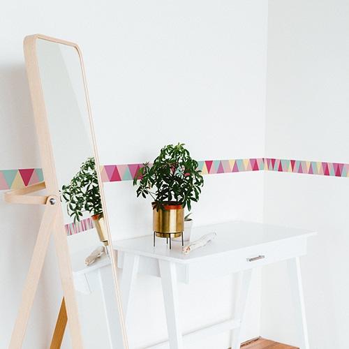 Adhésif triangles rose turquoise gris et jaune