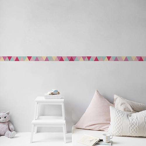 Sticker triangles rose turquoise gris et jaune pour chambre d'enfant