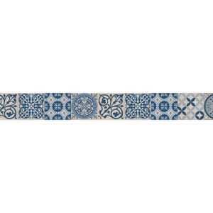 Sticker Frise imitation carrelage bleu et blanc pour maison