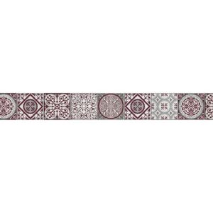 Adhésif Frise imitation carrelage rouge et gris pour maison