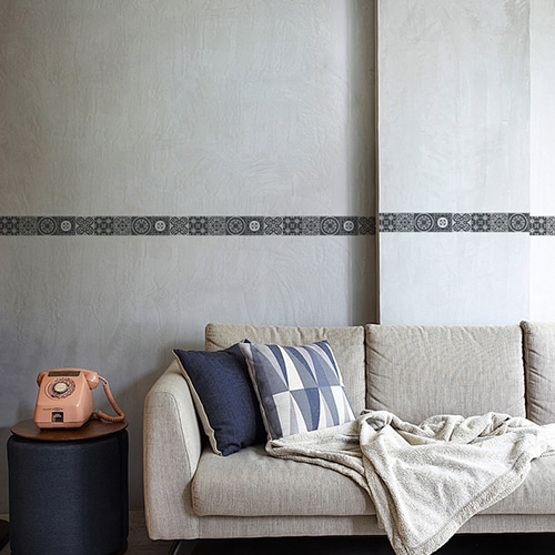 Adhésif frise imitation carrelage design gris