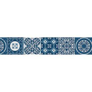 Autocollant frise imitation carrelage design bleu
