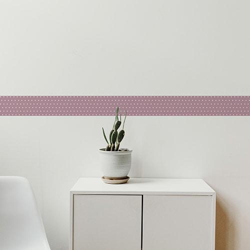 Sticker frise rose et points blancs avec cactus décoratif