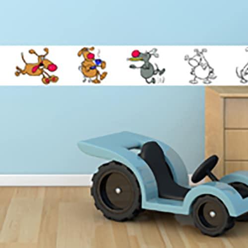 Sticker adhésif à colorier Funny Dogs mis en ambiance dans une salle de jeu pour enfants
